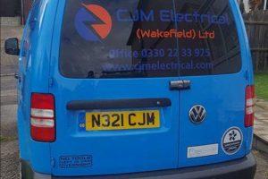 CJM Electrical Wakefield Blue Van Graphics Rear