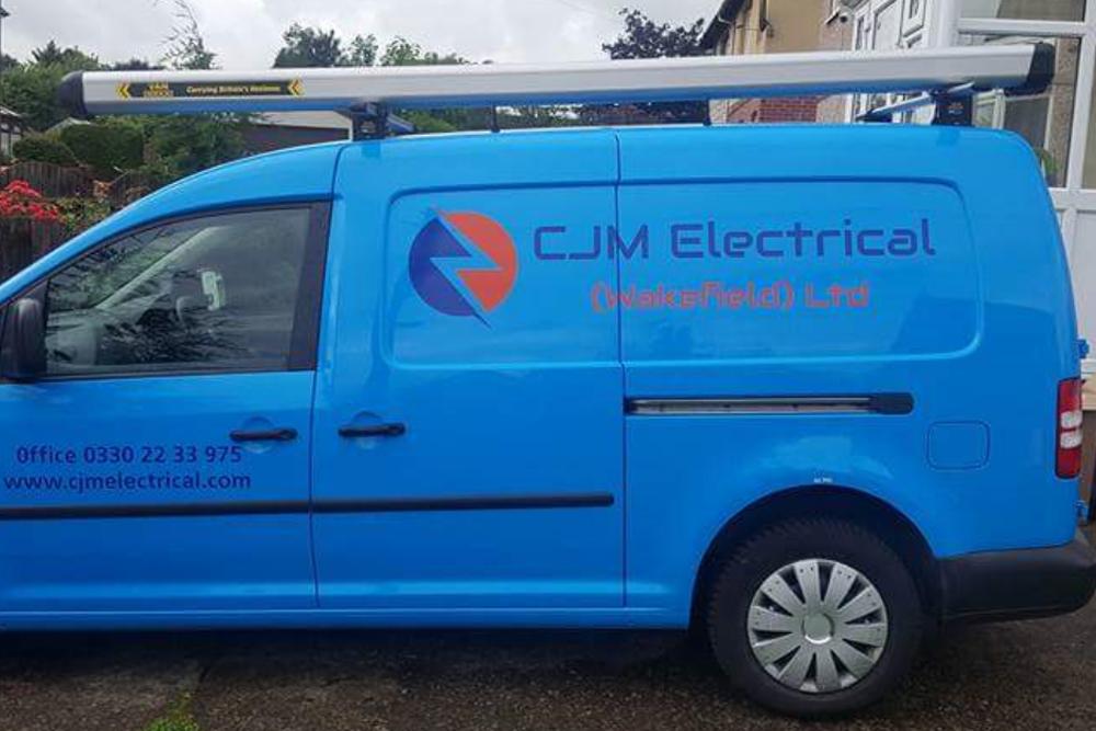 CJM Electrical Wakefield Side Blue Van Graphics Side